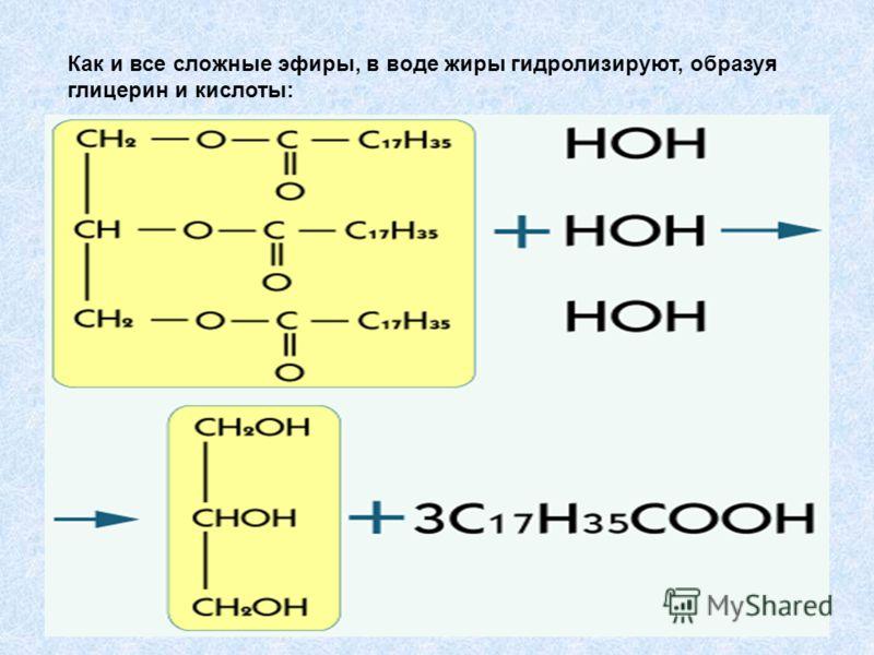 Как и все сложные эфиры, в воде жиры гидролизируют, образуя глицерин и кислоты: