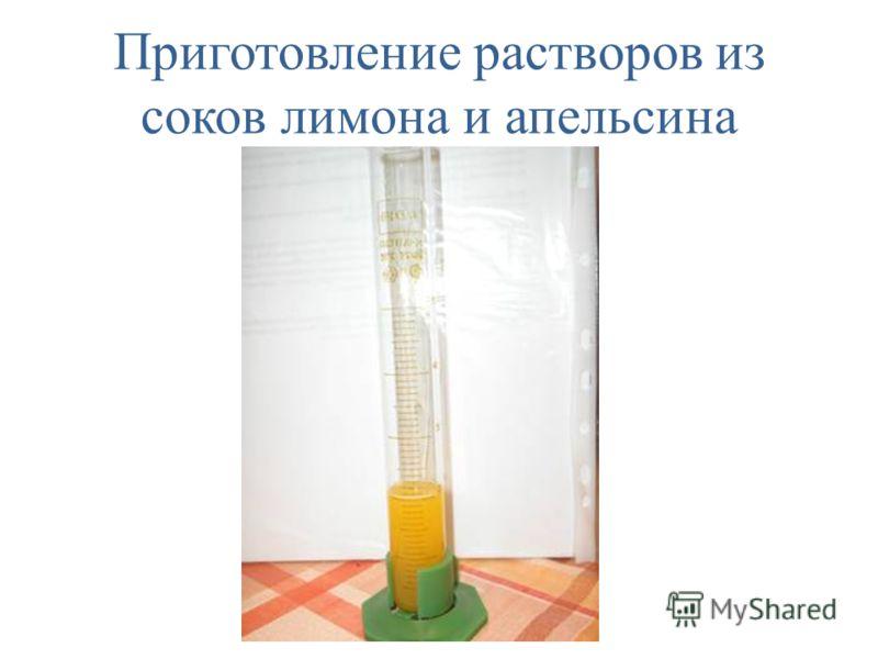 Приготовление растворов из соков лимона и апельсина