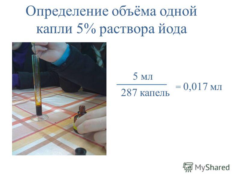 Определение объёма одной капли 5% раствора йода 5 мл 287 капель = 0,017 мл