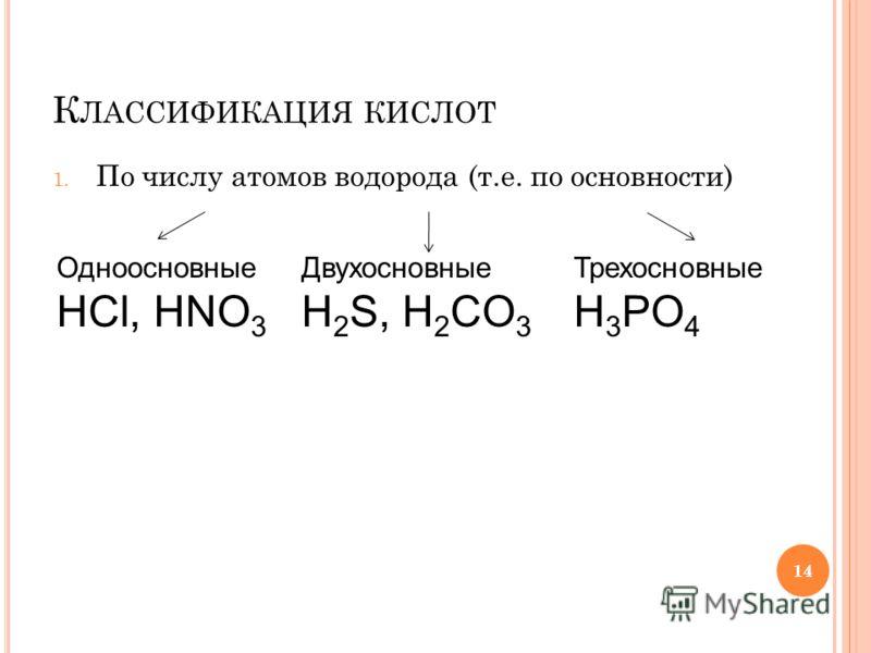 14 К ЛАССИФИКАЦИЯ КИСЛОТ 1. По числу атомов водорода (т.е. по основности) Одноосновные HCl, HNO 3 Двухосновные H 2 S, H 2 CO 3 Трехосновные H 3 PO 4 14