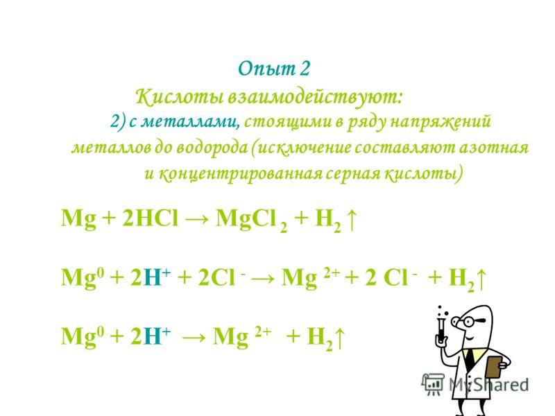 Опыт 2 2) с металлами, стоящими в ряду напряжений металлов до водорода (исключение составляют азотная и концентрированная серная кислоты) Кислоты взаимодействуют: Mg + 2HCl MgCl 2 + H 2 Mg 0 + 2H + + 2Cl - Mg 2+ + 2 Cl - + H 2 Mg 0 + 2H + Mg 2+ + H 2
