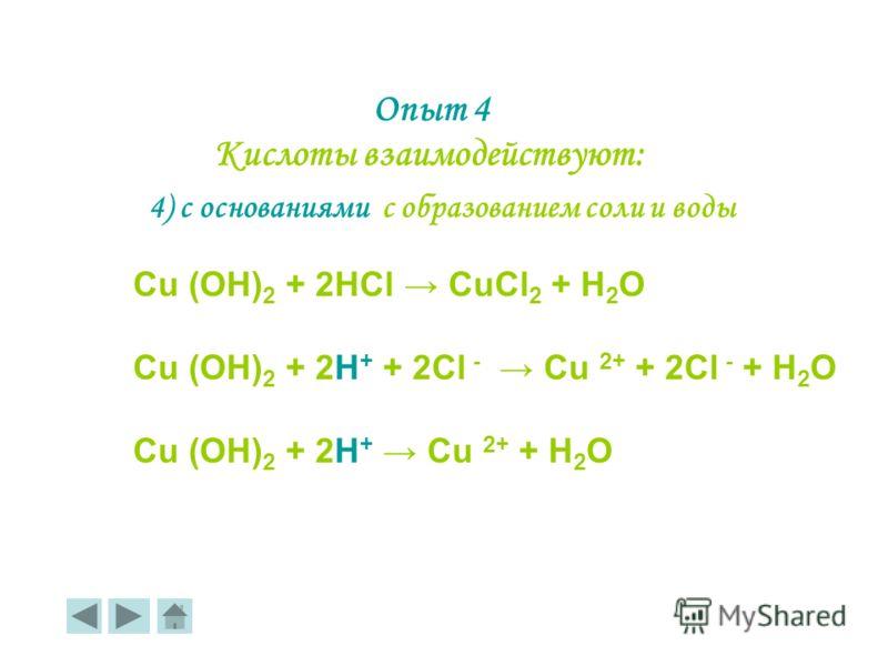 4) с основаниями с образованием соли и воды Cu (OH) 2 + 2HCl CuCl 2 + H 2 O Cu (OH) 2 + 2Н + + 2Сl - Cu 2+ + 2Cl - + H 2 O Cu (OH) 2 + 2Н + Cu 2+ + H 2 O Опыт 4 Кислоты взаимодействуют: