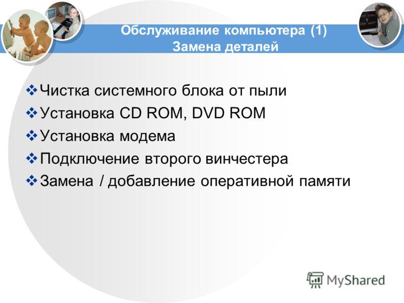 Обслуживание компьютера (1) Замена деталей Чистка системного блока от пыли Установка CD ROM, DVD ROM Установка модема Подключение второго винчестера Замена / добавление оперативной памяти