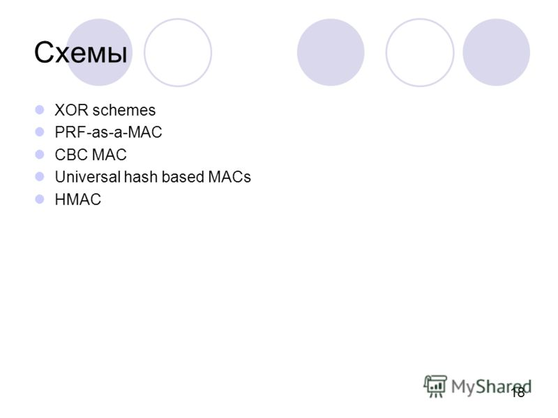 18 Схемы XOR schemes PRF-as-a-MAC CBC MAC Universal hash based MACs HMAC