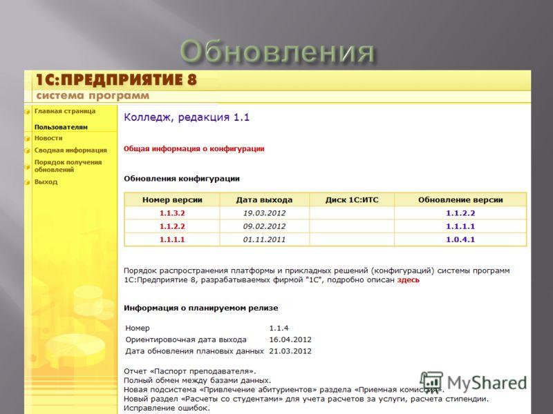 Программа активно развивается. Обновление конфигурации пользователь самостоятельно скачивает с сайта www.users.v8.1c.ruwww.users.v8.1c.ru Для доступа к сайту необходимо наличие действующей подписки на диск Информационно- Технологического Сопровождени