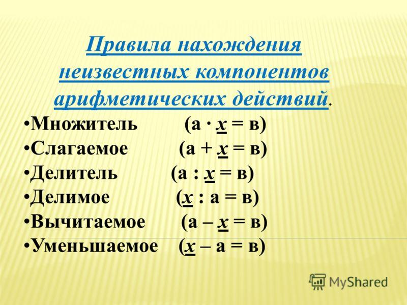 Правила нахождения неизвестных компонентов арифметических действий. Множитель (а · х = в) Слагаемое (а + х = в) Делитель (а : х = в) Делимое (х : а = в) Вычитаемое (а – х = в) Уменьшаемое (х – а = в)