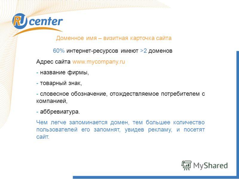 Доменное имя – визитная карточка сайта 60% интернет-ресурсов имеют >2 доменов Адрес сайта www.mycompany.ru - название фирмы, - товарный знак, - словесное обозначение, отождествляемое потребителем с компанией, - аббревиатура. Чем легче запоминается до