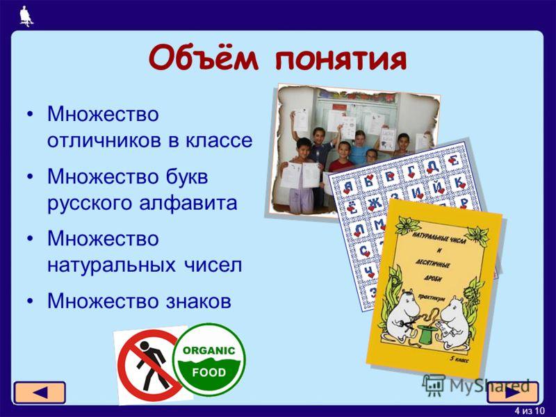 4 из 10 Объём понятия Множество отличников в классе Множество букв русского алфавита Множество натуральных чисел Множество знаков