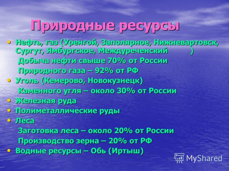 Природные ресурсы Природные ресурсы Нефть, газ (Уренгой, Заполярное, Нижневартовск, Сургут, Ямбургское, Междуреченский) Нефть, газ (Уренгой, Заполярное, Нижневартовск, Сургут, Ямбургское, Междуреченский) Добыча нефти свыше 70% от России Добыча нефти