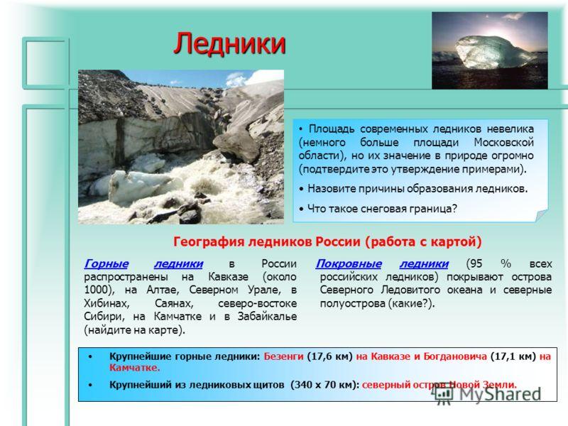 Ледники Покровные ледники (95 % всех российских ледников) покрывают острова Северного Ледовитого океана и северные полуострова (какие?). География ледников России (работа с картой) Площадь современных ледников невелика (немного больше площади Московс