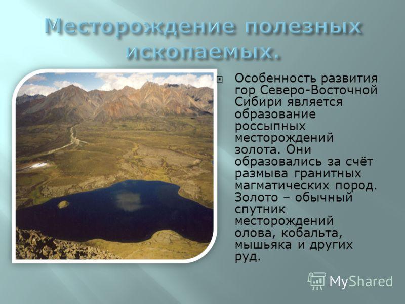 Особенность развития гор Северо-Восточной Сибири является образование россыпных месторождений золота. Они образовались за счёт размыва гранитных магматических пород. Золото – обычный спутник месторождений олова, кобальта, мышьяка и других руд.