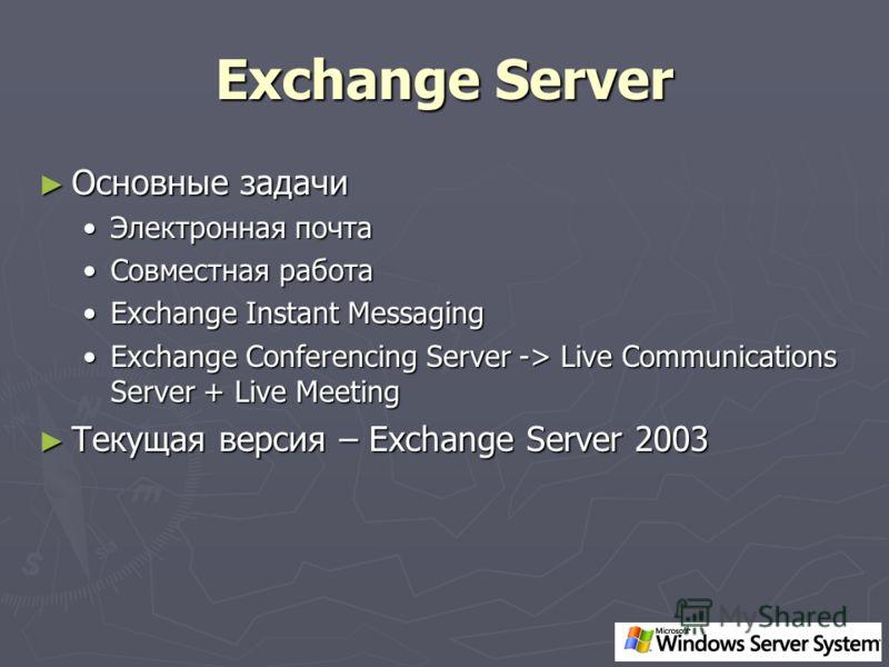 Exchange Server Основные задачи Основные задачи Электронная почтаЭлектронная почта Совместная работаСовместная работа Exchange Instant MessagingExchange Instant Messaging Exchange Conferencing Server -> Live Communications Server + Live MeetingExchan