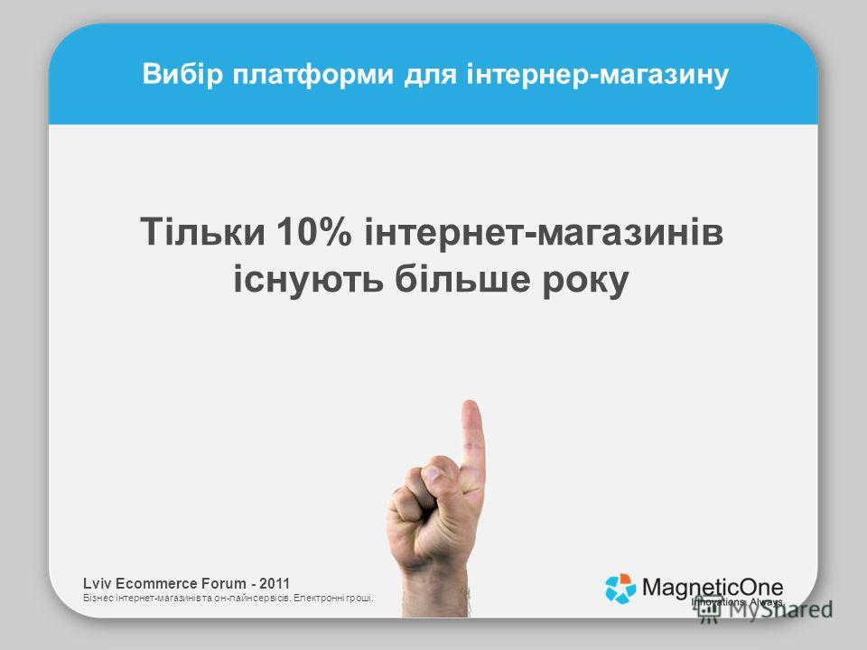Lviv Ecommerce Forum - 2011 Бізнес інтернет-магазинів та он-лайн сервісів. Електронні гроші. Вибір платформи для інтернер-магазину Тільки 10% інтернет-магазинів існують більше року