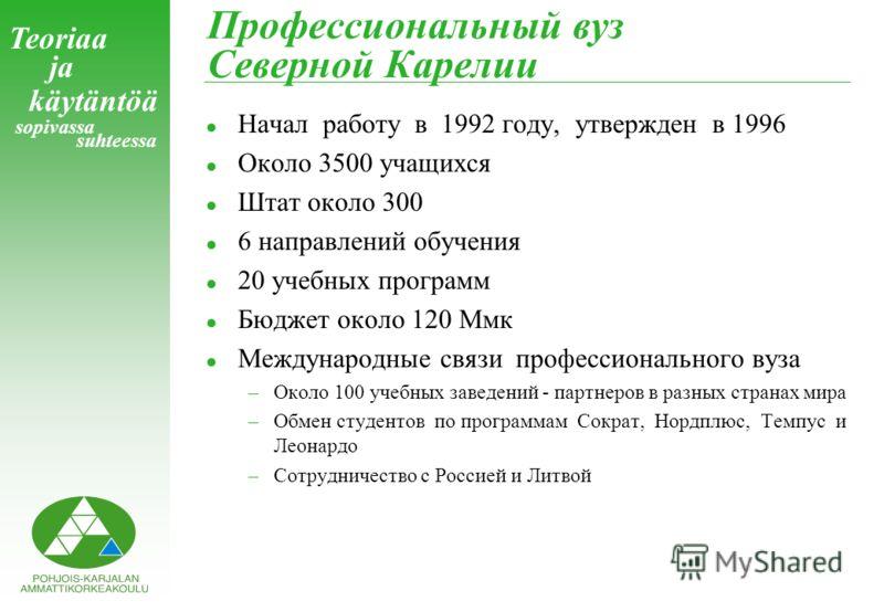 Teoriaa ja käytäntöä sopivassa suhteessa Профессиональный вуз Северной Карелии !Начал работу в 1992 году, утвержден в 1996 !Около 3500 учащихся !Штат около 300 !6 направлений обучения !20 учебных программ !Бюджет около 120 Ммк !Mеждународные связи пр