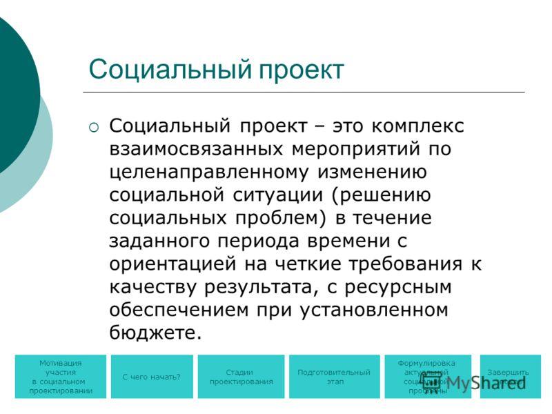 Социальный проект Социальный проект – это комплекс взаимосвязанных мероприятий по целенаправленному изменению социальной ситуации (решению социальных проблем) в течение заданного периода времени с ориентацией на четкие требования к качеству результат