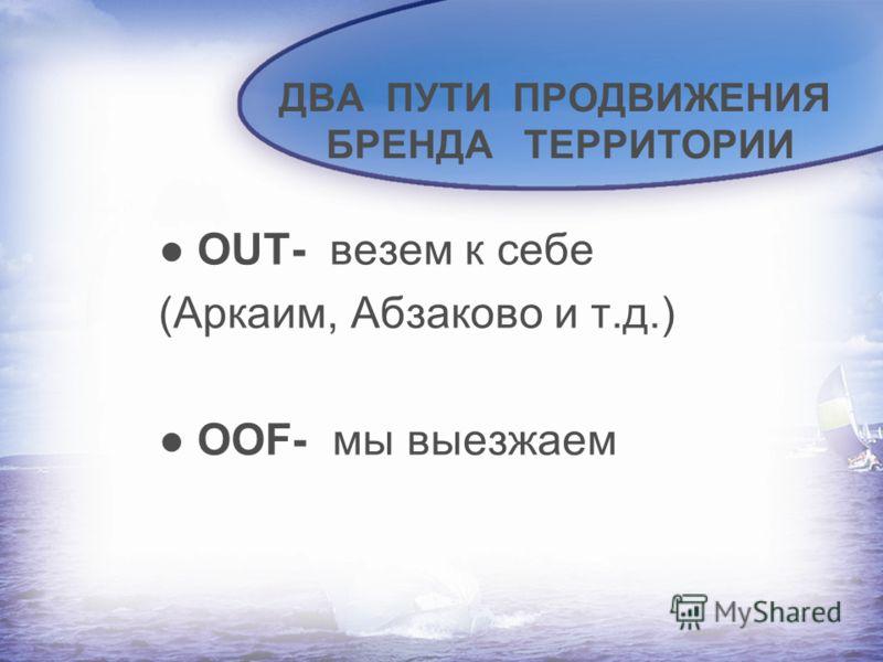 ДВА ПУТИ ПРОДВИЖЕНИЯ БРЕНДА ТЕРРИТОРИИ OUT- везем к себе (Аркаим, Абзаково и т.д.) OOF- мы выезжаем