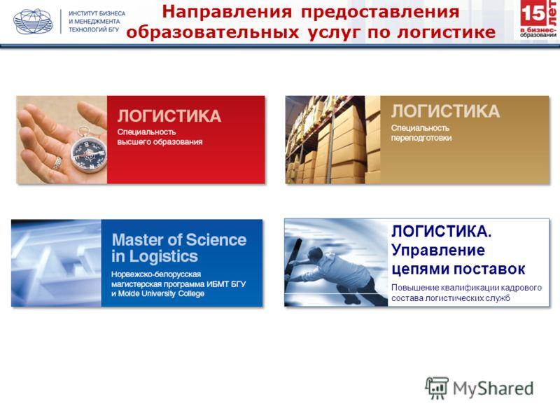 Направления предоставления образовательных услуг по логистике ЛОГИСТИКА. Управление цепями поставок Повышение квалификации кадрового состава логистических служб