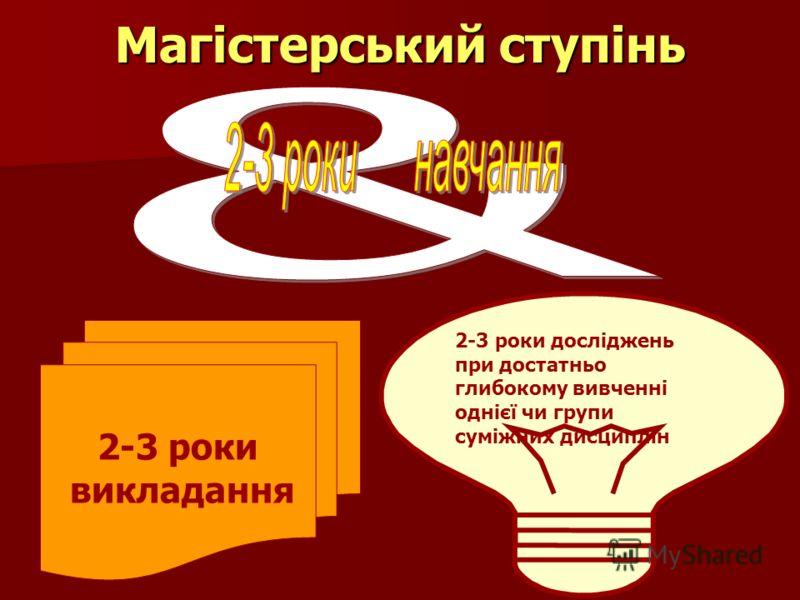 Магістерський ступінь 2-3 роки викладання 2-3 роки досліджень при достатньо глибокому вивченні однієї чи групи суміжних дисциплін