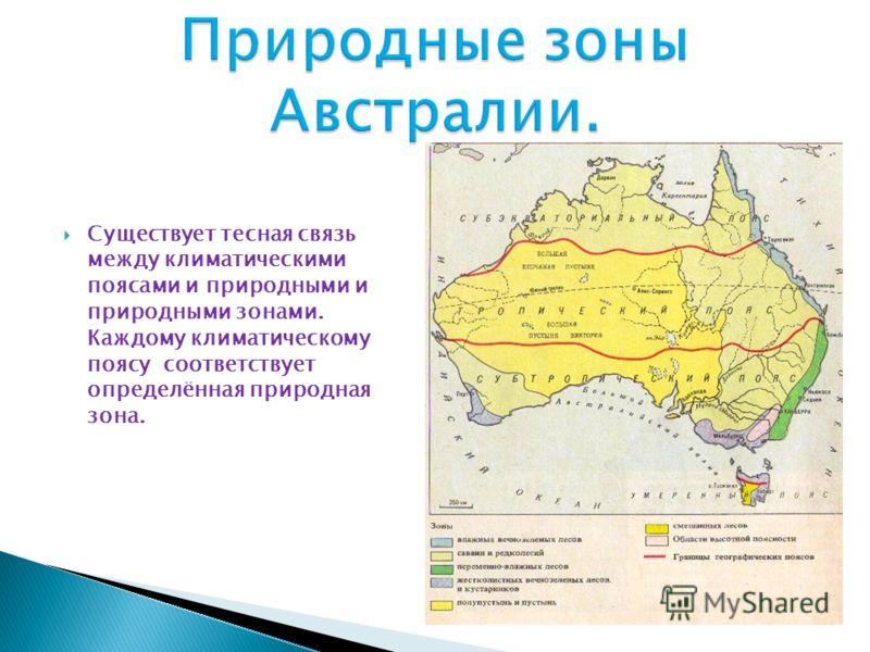 Существует тесная связь между климатическими поясами и природными и природными зонами. Каждому климатическому поясу соответствует определённая природная зона.