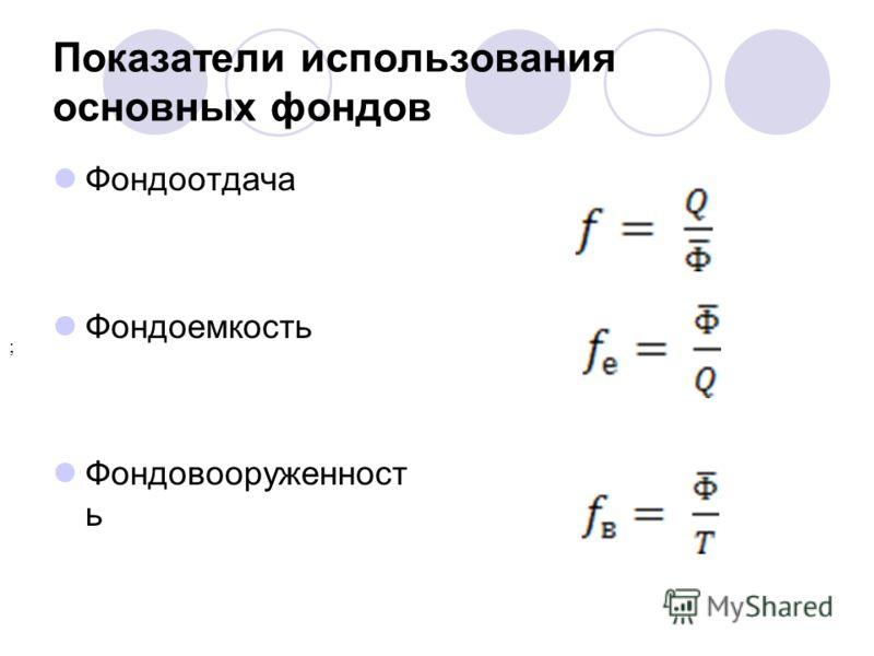 Показатели использования основных фондов Фондоотдача Фондоемкость Фондовооруженност ь ;
