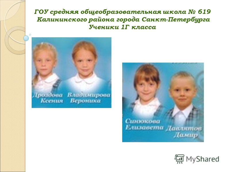ГОУ средняя общеобразовательная школа 619 Калининского района города Санкт-Петербурга Ученики 1Г класса