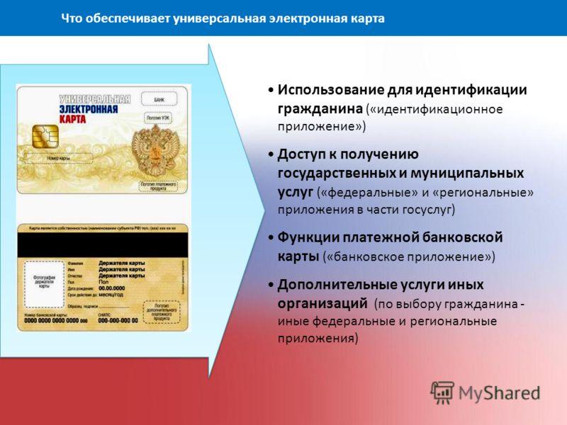 Использование для идентификации гражданина («идентификационное приложение») Доступ к получению государственных и муниципальных услуг («федеральные» и «региональные» приложения в части госуслуг) Функции платежной банковской карты («банковское приложен