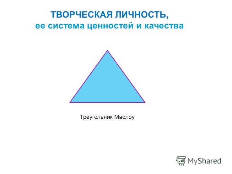 ТВОРЧЕСКАЯ ЛИЧНОСТЬ, ее система ценностей и качества Треугольник Маслоу