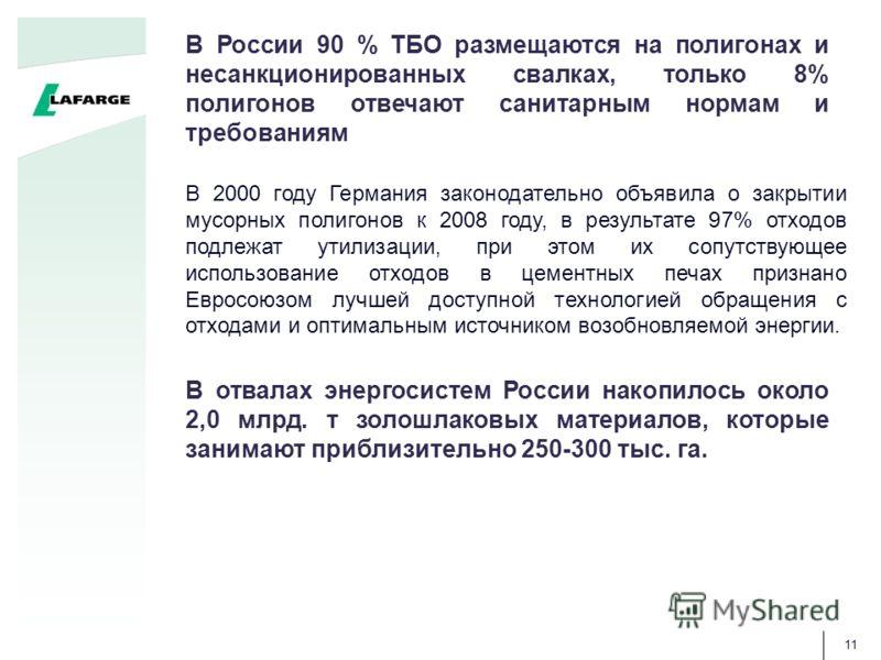 11 В отвалах энергосистем России накопилось около 2,0 млрд. т золошлаковых материалов, которые занимают приблизительно 250-300 тыс. га. В России 90 % ТБО размещаются на полигонах и несанкционированных свалках, только 8% полигонов отвечают санитарным