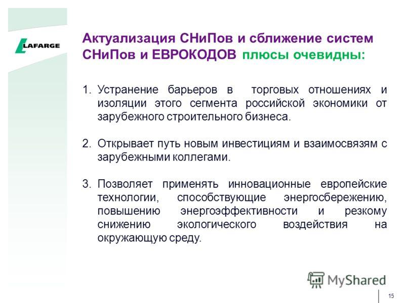 1.Устранение барьеров в торговых отношениях и изоляции этого сегмента российской экономики от зарубежного строительного бизнеса. 2.Открывает путь новым инвестициям и взаимосвязям с зарубежными коллегами. 3.Позволяет применять инновационные европейски