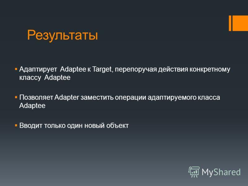 Результаты Адаптирует Adaptee к Target, перепоручая действия конкретному классу Adaptee Позволяет Adapter заместить операции адаптируемого класса Adaptee Вводит только один новый объект