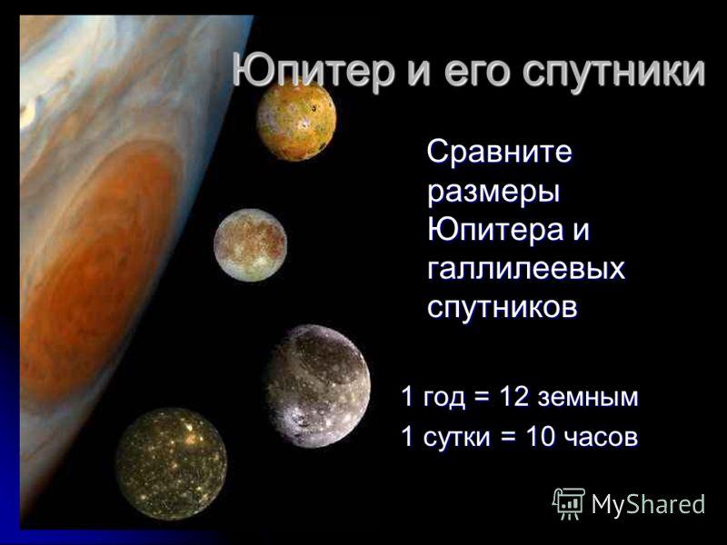 Юпитер и его спутники Сравните размеры Юпитера и галлилеевых спутников Сравните размеры Юпитера и галлилеевых спутников 1 год = 12 земным 1 сутки = 10 часов