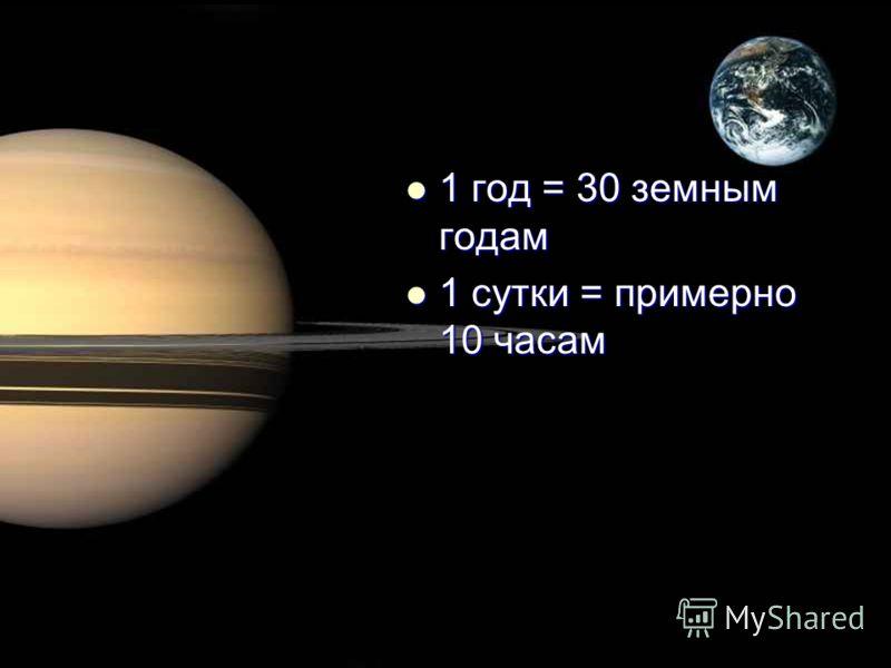 1 год = 30 земным годам 1 год = 30 земным годам 1 сутки = примерно 10 часам 1 сутки = примерно 10 часам