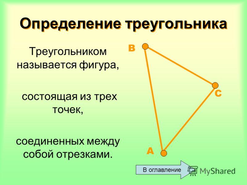 Определение треугольника Определение треугольника Треугольником называется фигура, состоящая из трех точек, соединенных между собой отрезками. В оглавление А В С