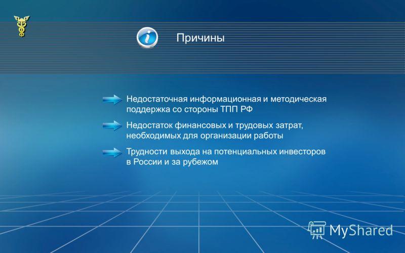 Причины Недостаточная информационная и методическая поддержка со стороны ТПП РФ Недостаток финансовых и трудовых затрат, необходимых для организации работы Трудности выхода на потенциальных инвесторов в России и за рубежом