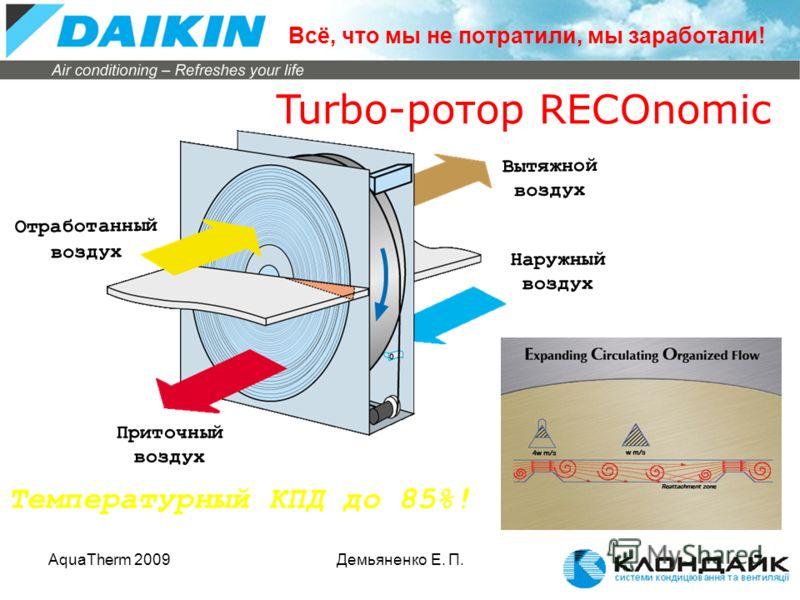 AquaTherm 2009Демьяненко Е. П. Turbo-ротор RECOnomic Температурный КПД до 85%! Вытяжной воздух Наружный воздух Отработанный воздух Приточный воздух Всё, что мы не потратили, мы заработали!
