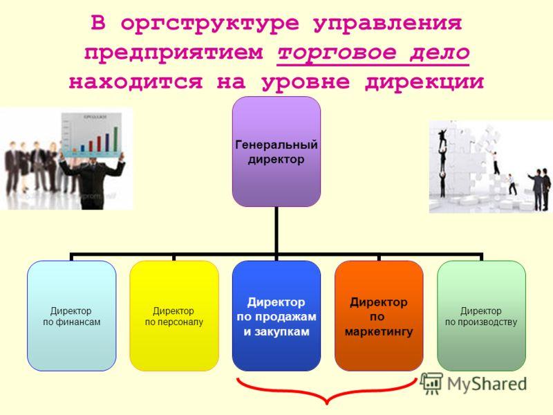 В оргструктуре управления предприятием торговое дело находится на уровне дирекции Генеральный директор Директор по финансам Директор по персоналу Директор по продажам и закупкам Директор по маркетингу Директор по производству