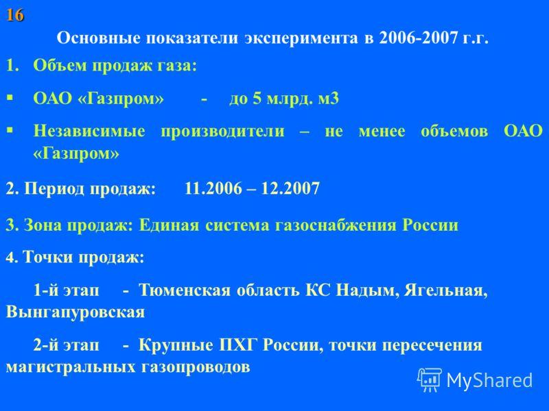 Основные показатели эксперимента в 2006-2007 г.г. 1.Объем продаж газа: ОАО «Газпром» - до 5 млрд. м3 Независимые производители – не менее объемов ОАО «Газпром» 2. Период продаж: 11.2006 – 12.2007 4. Точки продаж: 1-й этап - Тюменская область КС Надым