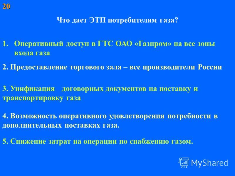 Что дает ЭТП потребителям газа? 1.Оперативный доступ в ГТС ОАО «Газпром» на все зоны входа газа 2. Предоставление торгового зала – все производители России 5. Снижение затрат на операции по снабжению газом. 4. Возможность оперативного удовлетворения