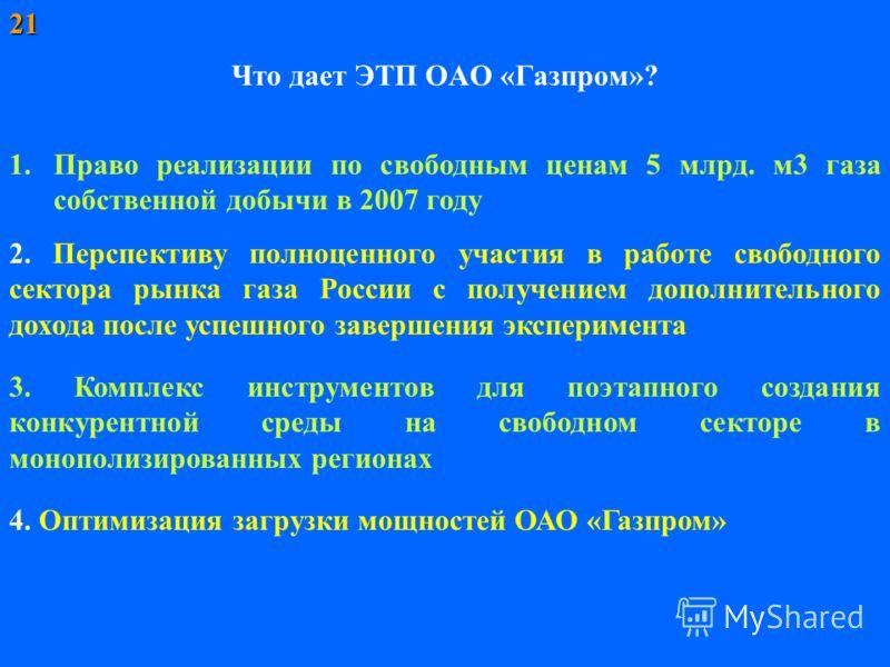 Что дает ЭТП ОАО «Газпром»? 1.Право реализации по свободным ценам 5 млрд. м3 газа собственной добычи в 2007 году 2. Перспективу полноценного участия в работе свободного сектора рынка газа России с получением дополнительного дохода после успешного зав