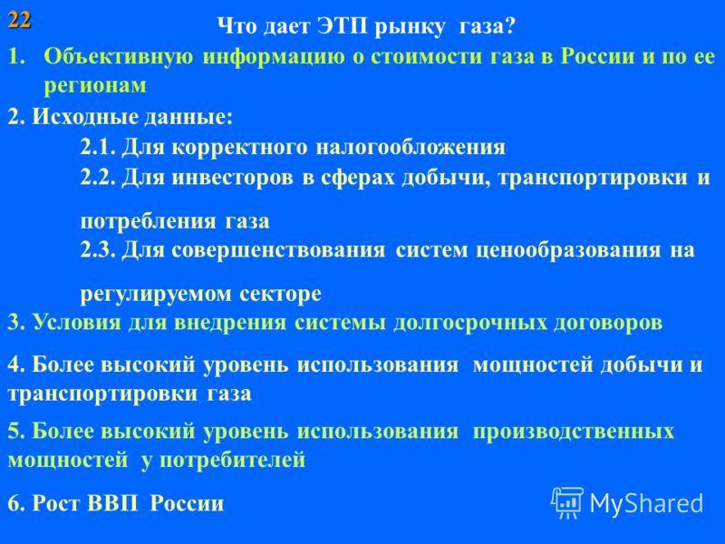 Что дает ЭТП рынку газа? 1.Объективную информацию о стоимости газа в России и по ее регионам 2. Исходные данные: 2.3. Для совершенствования систем ценообразования на регулируемом секторе 2.1. Для корректного налогообложения 22 2.2. Для инвесторов в с