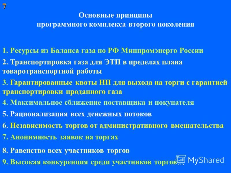 Основные принципы программного комплекса второго поколения 1. Ресурсы из Баланса газа по РФ Минпромэнерго России 2. Транспортировка газа для ЭТП в пределах плана товаротранспортной работы 5. Рационализация всех денежных потоков 6. Независимость торго