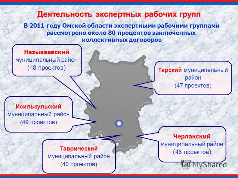 Деятельность экспертных рабочих групп Таврический муниципальный район (40 проектов) Тарский муниципальный район (47 проектов) Исилькульский муниципальный район (49 проектов) В 2011 году Омской области экспертными рабочими группами рассмотрено около 8