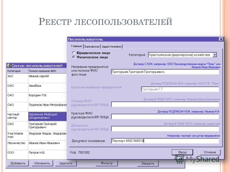 Р ЕЕСТР ЛЕСОПОЛЬЗОВАТЕЛЕЙ