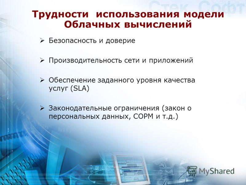 Трудности использования модели Облачных вычислений Безопасность и доверие Производительность сети и приложений Обеспечение заданного уровня качества услуг (SLA) Законодательные ограничения (закон о персональных данных, СОРМ и т.д.)