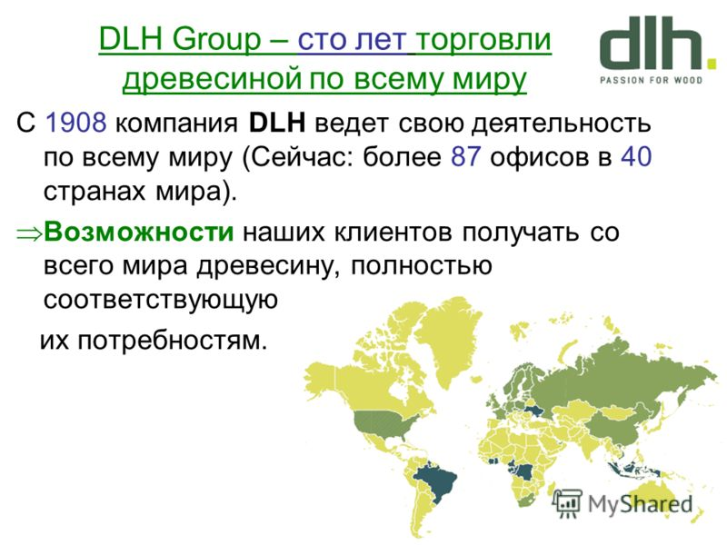 С 1908 компания DLH ведет свою деятельность по всему миру (Сейчас: более 87 офисов в 40 странах мира). Возможности наших клиентов получать со всего мира древесину, полностью соответствующую их потребностям. DLH Group – сто лет торговли древесиной по