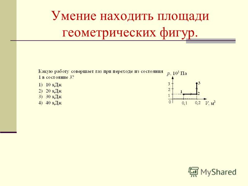 Умение находить площади геометрических фигур.