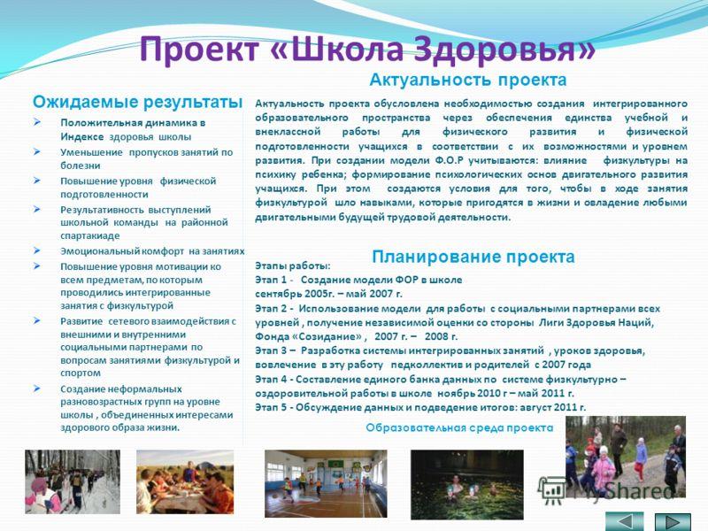 Этапы работы: Этап 1 - Создание модели ФОР в школе сентябрь 2005г. – май 2007 г. Этап 2 - Использование модели для работы с социальными партнерами всех уровней, получение независимой оценки со стороны Лиги Здоровья Наций, Фонда «Созидание», 2007 г. –