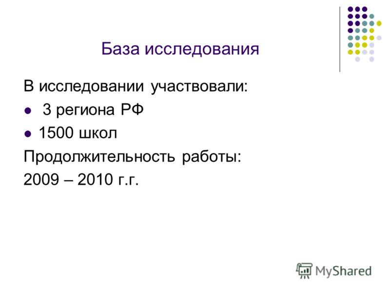 База исследования В исследовании участвовали: 3 региона РФ 1500 школ Продолжительность работы: 2009 – 2010 г.г.
