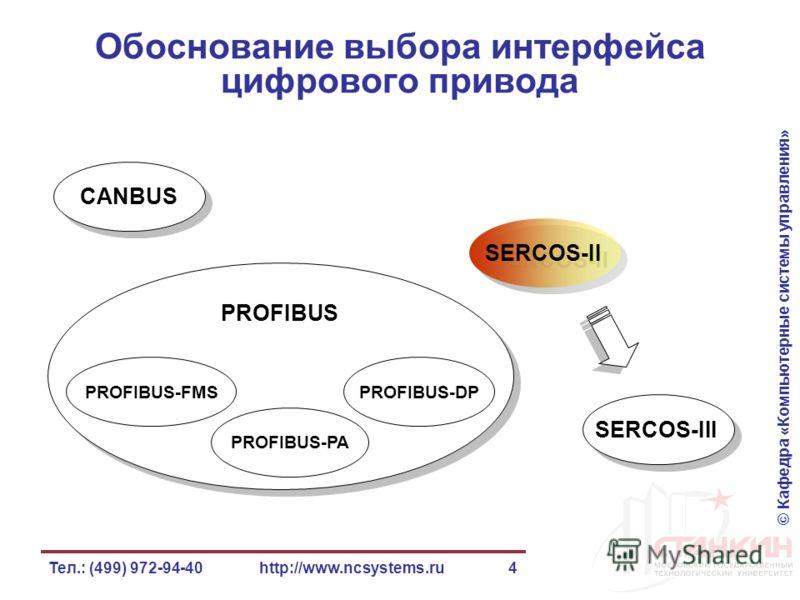 © Кафедра «Компьютерные системы управления» Тел.: (499) 972-94-40http://www.ncsystems.ru4 Обоснование выбора интерфейса цифрового привода CANBUS PROFIBUS SERCOS-II SERCOS-III PROFIBUS-FMSPROFIBUS-DP PROFIBUS-PA