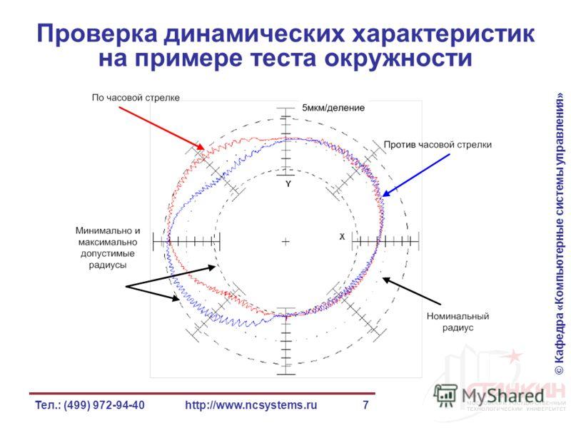 © Кафедра «Компьютерные системы управления» Тел.: (499) 972-94-40http://www.ncsystems.ru7 Проверка динамических характеристик на примере теста окружности
